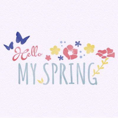 스텐실 도안_Hello Spring