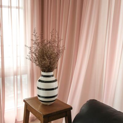 로맨틱 핑크 쉬폰커튼(나비주름 스타일)