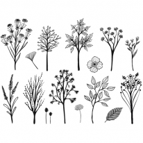 3D전사지]Black&White Plant-3(98039)