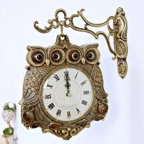 (kspz179)체리 쌍부엉이 양면시계 골드