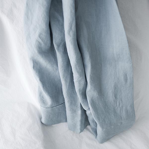 프렌치 린넨 블루 커튼