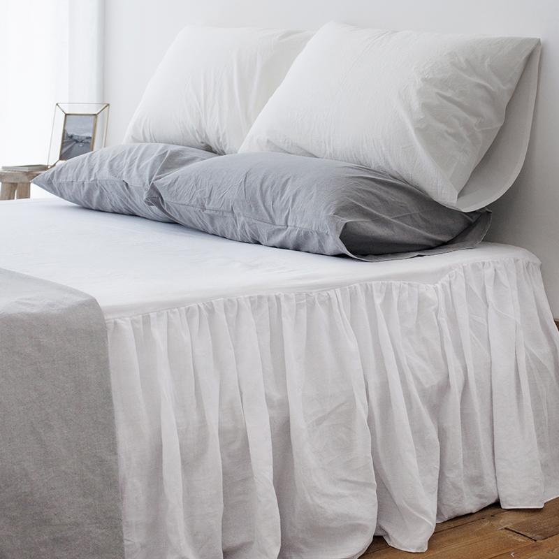 프렌치 린넨 화이트 침대커버