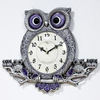 (kspz197)저소음 체리 나무부엉이 시계 주석