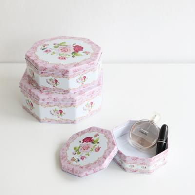 러블리팔각틴케이스3p세트-핑크로즈플라워