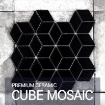 [퍼스타일] 큐브 블랙 모자이크 레그노 시리즈 인테리어 타일