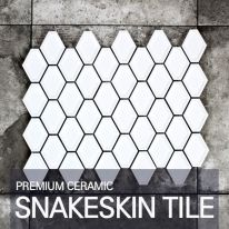 [퍼스타일] 스네이크스킨 화이트 모자이크 레그노 시리즈 인테리어 타일