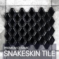 [퍼스타일] 스네이크스킨 블랙 모자이크 레그노 시리즈 인테리어 타일