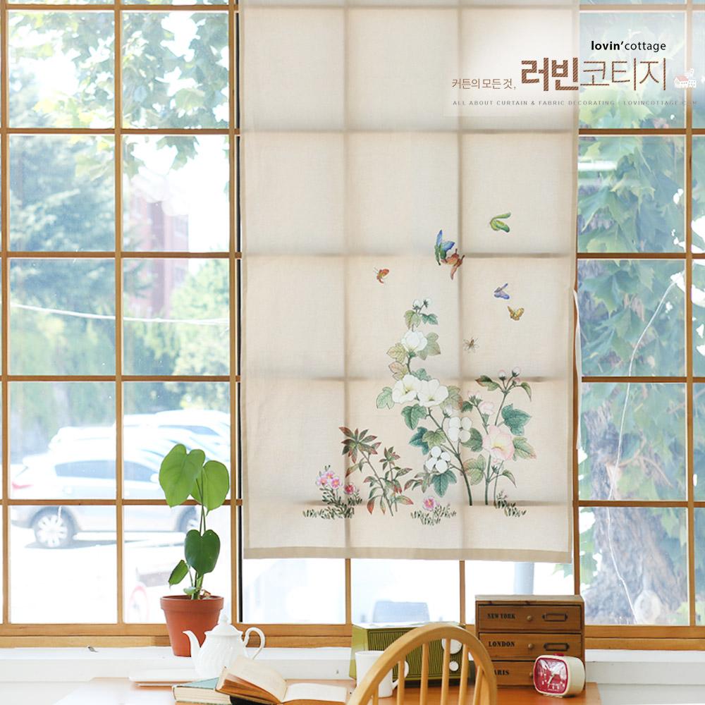 들꽃이야기 목화꽃 가리개커튼  85x145