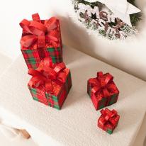 체크선물상자 레드 6cm (4개입) 크리스마스장식소품