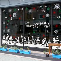 JMCS3025 함박눈 내리는 마을 크리스마스 눈꽃 스티커 장식