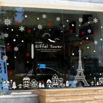 JMCS3048 크리스마스의 에펠탑01 눈꽃 스티커