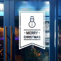 JMCS3142 심플 스노우맨 플래그 크리스마스 눈꽃 스티커 장식