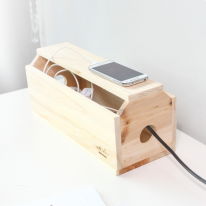 [스타일박스] 530. 하우스 케이블박스 - 삼나무 원목 전선 멀티탭 정리함