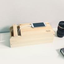 [스타일박스] 523. 슬라이딩 케이블박스 -  삼나무 원목 전선 멀티탭 정리함
