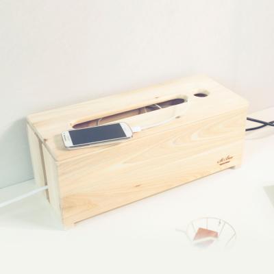 [스타일박스] 520. 느낌표 케이블박스 - 삼나무 원목 전선 멀티탭 정리함