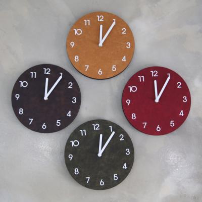 빈티지가죽 라운드 시계 (무소음)