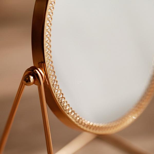 골드 레이스 원형 스탠드 거울