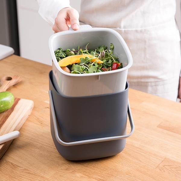 모던 위생 물빠짐 가정용 미니 음식물 쓰레기통 (2color)