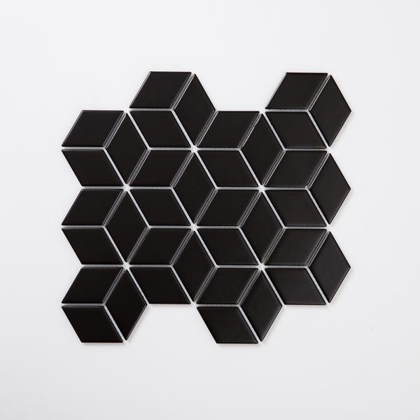 큐브육각 모자이크 타일 305x266 1장 - 블랙