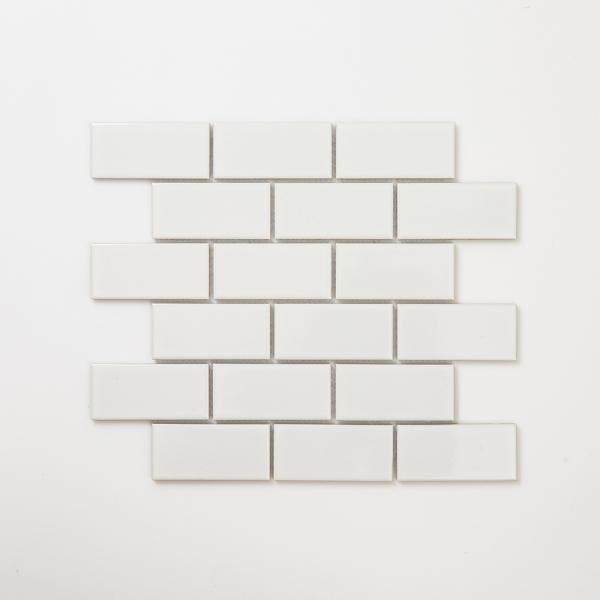 직사각 모자이크 타일 290x341 1장 - 화이트 유광