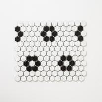 플라워 육각모자이크 타일 260x300 1장 - 화이트블랙