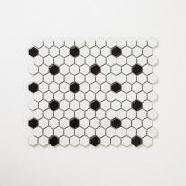 포인트 육각모자이크 타일 260x300 1장 - 화이트블랙