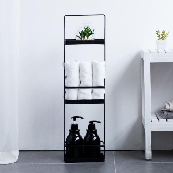 인더프레임 슬림 욕실선반 3단 (화이트/블랙)