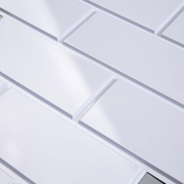 이지퀵 입체타일 직사각 화이트(유광)-실내/욕실용