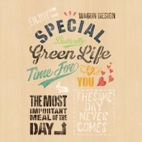스텐실 도안_빈티지 레터링 green life (A4)
