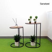 [핸즈홈] 센스틸 원목 사이드 테이블 세트(2개1SET)(3922) 커피테이블 협탁 화분진열대 화분거치대 정리대