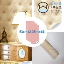[무지막지 워터풀 실크]풀바른 네폭벽지 패턴 가죽쿠션베이지 (53cmx2.35mx04폭)