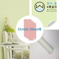 [무지막지 워터풀 실크]풀바른 네폭벽지 패턴 스티치그린 (53cmx2.35mx04폭)