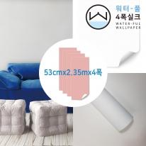 [무지막지 워터풀 실크]풀바른 네폭벽지 페브릭 화이트이 (53cmx2.35mx04폭)
