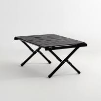 [예약판매] 문캠핑 접이식 원목 롤테이블 블랙 - 중