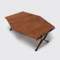 [무료배송] 문캠핑 접이식 원목 롤테이블 프리미엄 - 대 육각