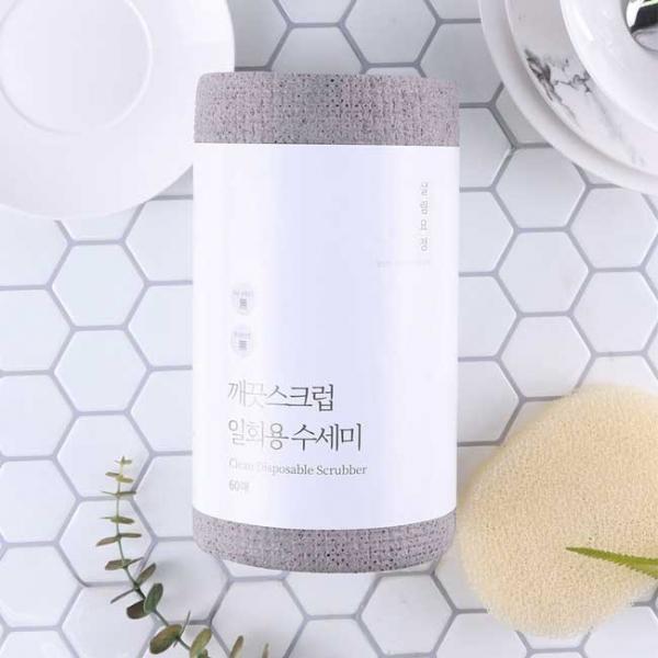살림요정 깨끗스크럽 일회용 수세미 1롤 60매 (단품/세트)