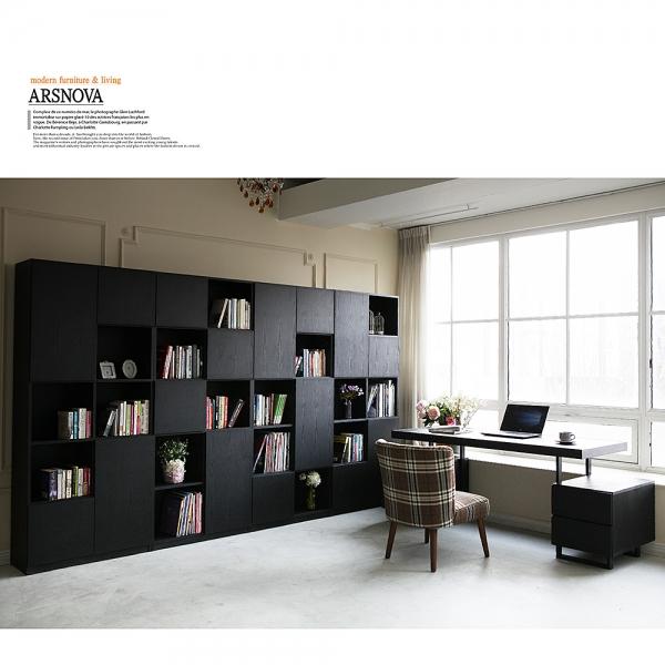 아르스노바 댄디 서재책장세트 3200 (블랙)+책상