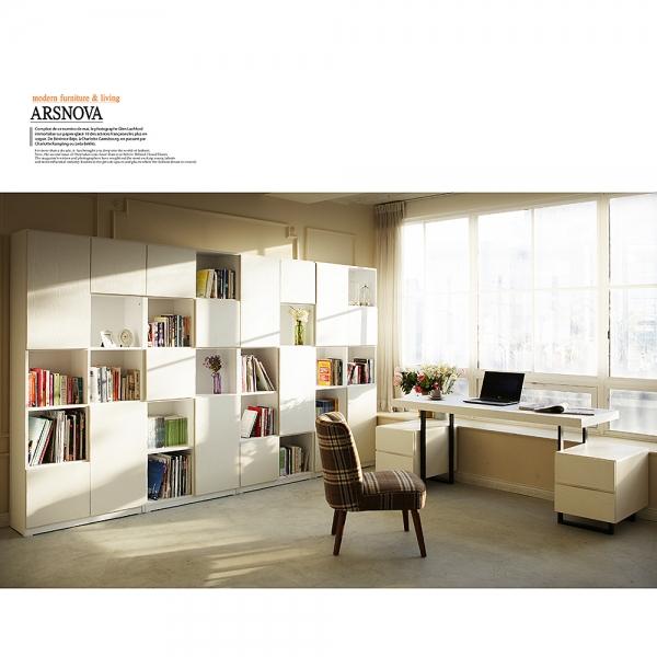 아르스노바 댄디 서재책장세트 3200 (화이트)+책상