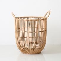 세로무늬 라탄 바구니