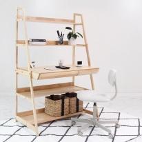 [벤트리] 원목 사다리선반 수납 책상 _100 (설치상품)