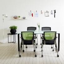 스틸뷰 1500테이블세트 회의실 4인용 철제테이블 책상