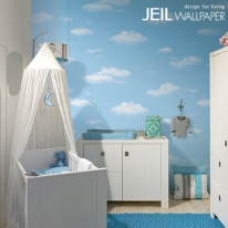 J6781-1 구름 블루  [풀바른합지벽지]