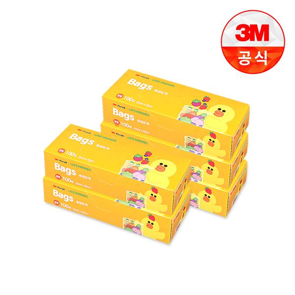 [3M]라인프렌즈 후레쉬 위생백 100매(중) 5개세트