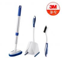 [3M]욕실청소용 브러쉬 3종세트(길이조절 욕실브러쉬+변기용브러쉬+타일틈새브러쉬)
