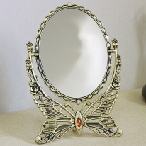(khhl118)스마일 나비삼각 양면탁상거울 대 (신주)
