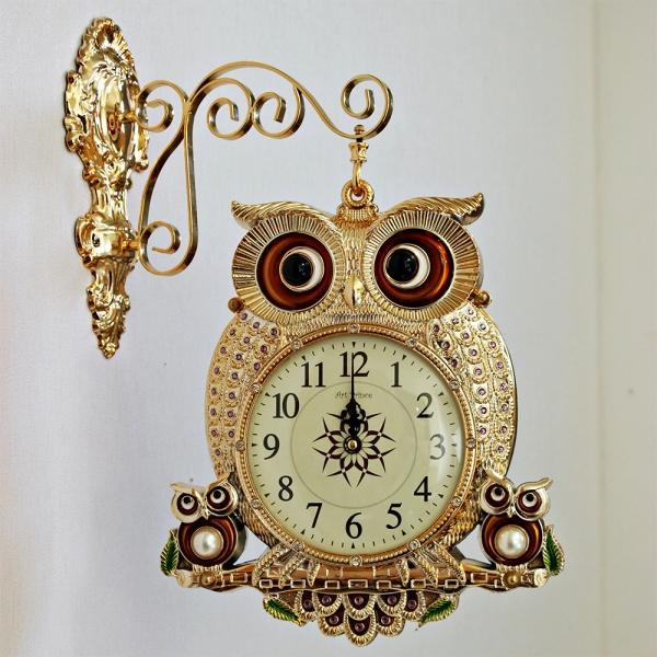 (kjco066)저소음 엣지 부엉이 양면시계 골드
