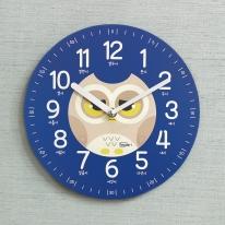 (kdrz120)키다리 저소음 부엉이 한글 교육용 시계 파랑