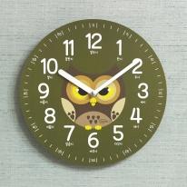 (kdrz121)키다리 저소음 부엉이 한글 교육용 시계 카키