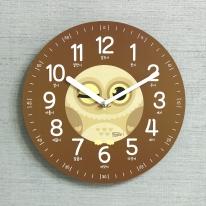 (kdrz124)키다리 저소음 부엉이 한글 교육용 시계 갈색