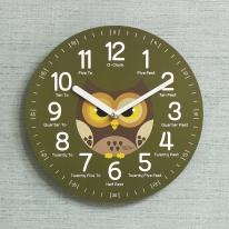 (kdrz126)키다리 저소음 부엉이 영어 교육용 시계 카키
